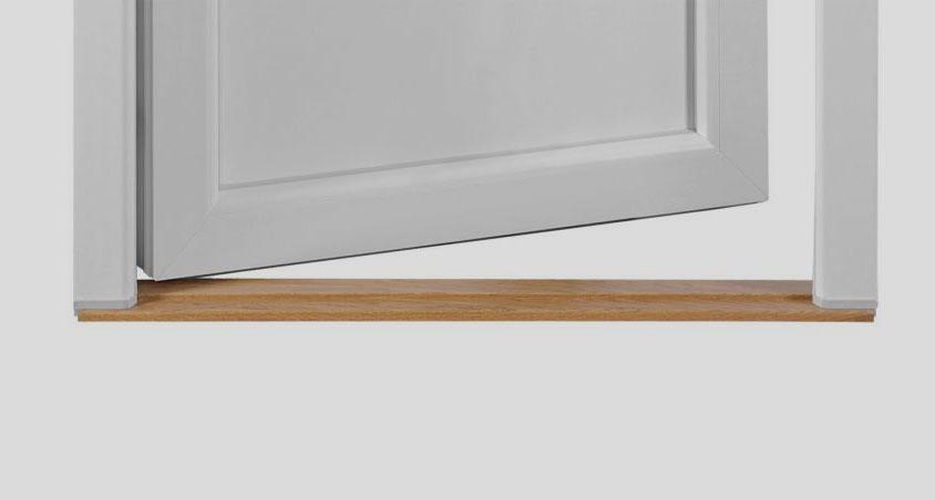 Trätröskel är en perfekt lösning för mellanprofil balkongdörrar